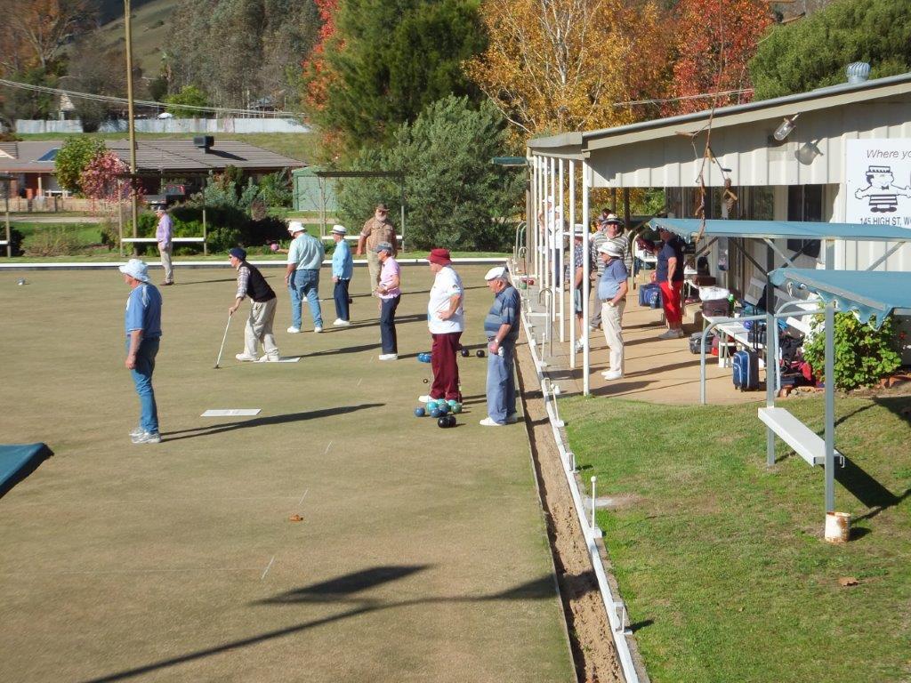 playing bowls at Mitta Valley Bowling Club