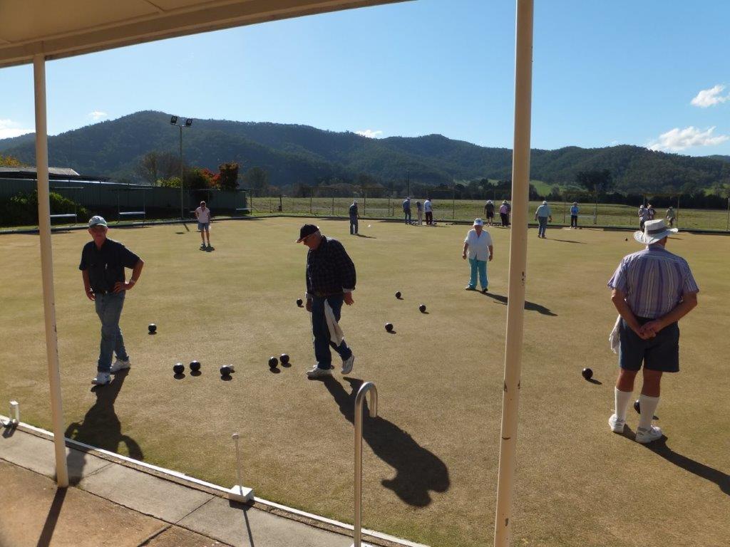 paying bowls at the Mitta Valley Bowling Club
